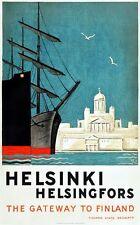 Poster Vintage Helsinki Finlandia Turismo A3 impresión