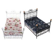 1: 12 Dormitorio en Miniatura Casa Muneca Cama metal muebles Con colchon JugF6G2
