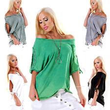 Maglia oversize donna maglietta borchie apertura goccia spalle sexy nuova