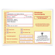 Jugendweihe Einladungskarten Einladungen Jugendfeier - Krankschreibung Gelb