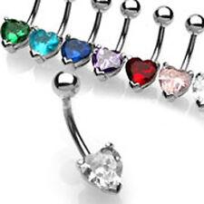 Acero Piercing Ombligo Joya con Cristal Corazón muchos colores corazón