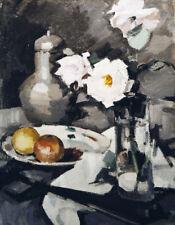 "SAMUEL JOHN PEPLOE ""Pink Roses in a Glass Vase"" SADNESS loss grey CANVAS/PAPER"