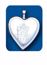 Saint Christopher Heart Locket Sterling Silver 925 Hallmark All Chain Lengths