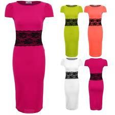 Ladies Lace Waistband Midi Knee Length Slim Fit Pencil Bodycon Women's Dress