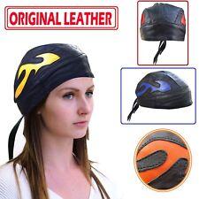 Envoltura de pañuelo para Hombre Motocicleta Motorbiker Doo Rag Real Cuero cráneo casquillo llamas