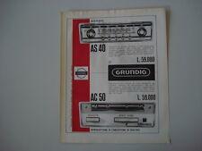 advertising Pubblicità 1966 AUTORADIO GRUNDIG AS 40 - AC 50