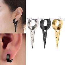 Pair Unisex Men Cross Surgical Steel Triangle Drop Dangle Hoop Earrings Huggies