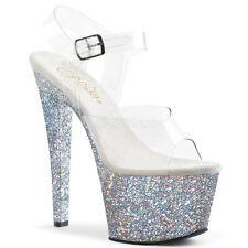"7"" Silver Glitter High Platform Heels Pleaser Sky Stripper Shoes size 8 9 10 11"