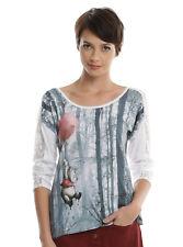 Disney Winnie-the-Pooh Bear Balloons Lace Long Sleeve Blouse Top Shirt JRS S M