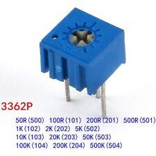 3362P Cermet Variable Resistors Potentiometer/Preset/Trimmer Range 50R to 500KR