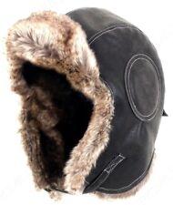 Negro Aviador Cuero Ushanka - invierno Ruso Sombrero Esquí Piel Piloto  Militar 1162d2d80be