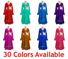 Satin BellyDance Skirt + Top Set Tie Ruffle Dress Flamenco Tribal Full Circle AU