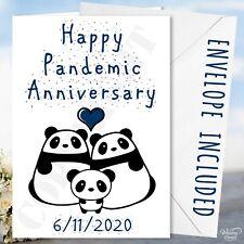 Happy Pandemic Anniversary Card Virus Pandas Lockdown Kid Son Grand Daughter Dad