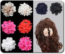 XL Haarkrebs Haarklammer Haarspange Haarblume Haarblüte Stoff 8 cm