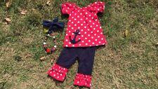 red anchor 4th of july capri pants girls set chunky bead headband 3t 4t 5t 6t 7