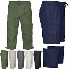 MENS 2 IN 1 ZIP OFF 3/4 SHORTS CARGO COMBAT SUMMER BEACH SWIM TROUSERS PANTS