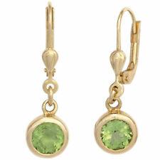 Ohrhänger rund 585 Gold Gelbgold 2 Peridote grün Ohrringe Boutons Peridot