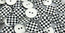 "Lot B&W CHECKERBOARD 2-hole Resin Button 1/2"" (13mm) Scrapbook Craft (1111)"