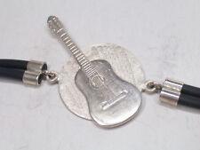 Braccialetto con CHITARRA in Argento 925 e caucciù - bracciale - musica -