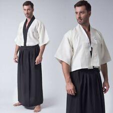 Uomo Giapponese Kimono Yukata Set Vestaglia Abito Costume Cosplay Costume Retrò