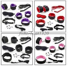 7pcs BDSM Furry Nylon Restraint Set Fetish Whip Collar Cuffs Mouth Gag Blindfold