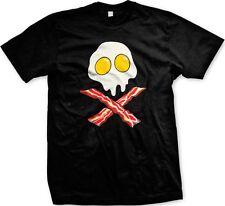 Sunny side Up Eggs Bacon Skull Crossbones Foodies Funny -Men's T-shirt