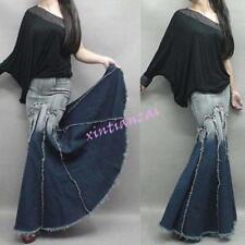 Hot Womens Slim Fit Jeans Denim Maxi Long Sexy Skirt Retro Fishtail Gown Dress