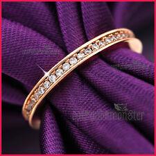 9CT ROSE GOLD GF LADIES GIRLS SOLID 2MM WEDDING ETERNITY DRESS CRYSTAL BAND RING