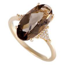14K Oro Amarillo Diamante y Ovalado Ahumado Anillo Topacio