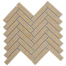 Beige Cream Crackled Glass Mosaic Tile Herringbone Pattern Kitchen Backsplash