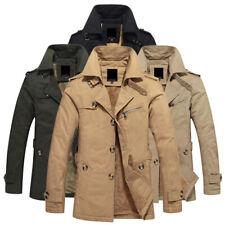 ZHF1062 Men's Cotton Winter Fleece Lined Thick Trench Coat Jacket Parka Overcoat