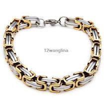 Men Fashion Chain Silver Gold Tone Byzantine Link Stainless Steel Bracelet 8mm