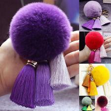 Women Furry Pompom Ball Tassel Keychain Bag Charm Car Key Rings Hanging Decor