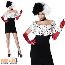 Evil Madame Ladies Halloween Cruella Fancy Dress Book Character Costume UK 8-16