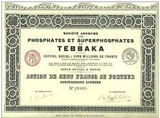 Africa Tunisia France bond PHOSPHATES & SUPERPHOSPHATE TEBBAKA 1926 Uncancelled