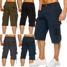 Herren Cargo Capri Shorts Sommer Bermuda Kurze Hose 3/4 Locker Lässig Taschen
