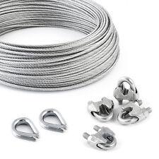 200m STAHLSEIL PVC SET verzinkt 5m 2 Kausche Seil Drahtseil DIN 4 Klemmen