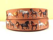 Grosgrain Ribbon Horses on Brown 22mm (1m, 2m or 5m)