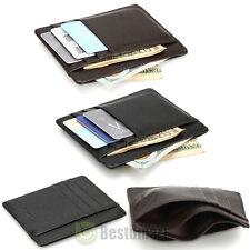 Men's Women's Leather Money Clip ID Credit Card Wallet Holder Slim Pocket Case