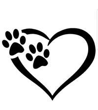 PAW HEART DOGS VINYL DECAL car bumper sticker laptop pet paw prints love
