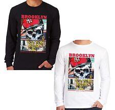 Velocitee da uomo a maniche lunghe T Shirt Brooklyn New York Gangster Skull Biker V36