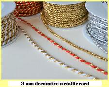 3 mm beautiful decorative metallic twisted cord braid jewellery soutache crafts