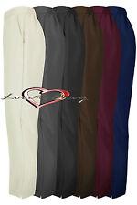 Ladies NEW Half Elastic Waist Pocket Trouser 25 inch Tapered Leg In Sizes 10-24.