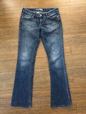 Express Zelda Barely Boot Slim Leg Low Rise Medium Indigo Wash Denim Jeans 6 6R