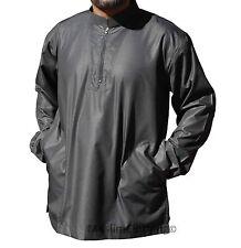 Long-sleeve Black Men Shirt Short Collar Muslim Clothing Kurta Islamic khamees