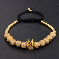 Luxury Men 18K Gold Plated CZ Crown 10 Pieces Balls Braided Macrame Bracelets