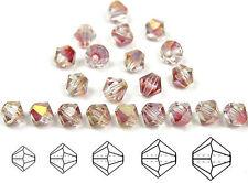 Czech MC Glass Bicone Beads (Rondell/Diamond) Crystal Rosehip Luster coated