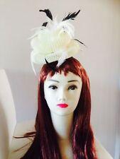 Wedding Races Melbourne Cup Feather Fascinator Hat Headband Cream Black Gray
