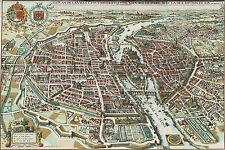 1615 Merian Map of Paris France by Matheus Merian Basiliensis Wall Poster Print