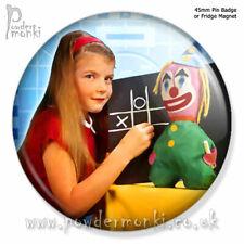 BBC TEST CARD (Clown & Girl) ~ Pin Badge or Fridge Magnet [45mm] Retro TV